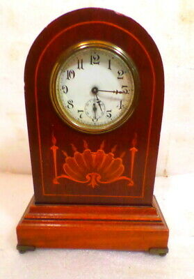 Terrific 1904 Sessions Intricately Inlaid Bee Hive Mantle Clock