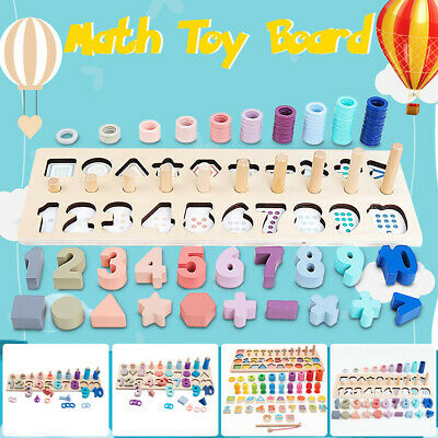 Kid Childrens Wooden Montessori Toy Number Math Counting Board Color Sorting Toy