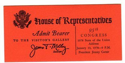 1978 Jimmy Carter State of The Union Address Numbered Ticket
