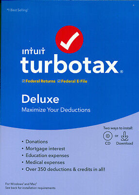 TurboTax Deluxe 2019 - Federal ONLY - PC/Mac Disc