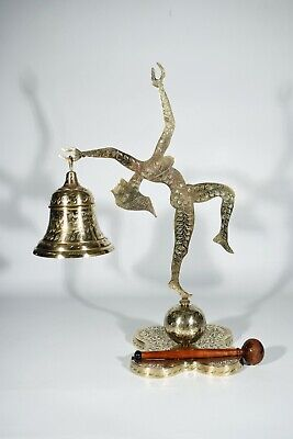 Art Deco Brass Gong with Dancer °Glockengong° Engraved Floral Decoration
