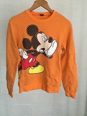 Disney Mickey Mouse Orange Crewneck Jumper Children's Unisex Size 16 100% Cotton