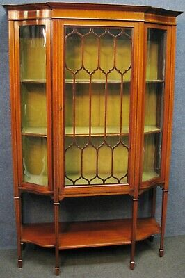 Edwardian Inlaid Mahogany Tall Single Door Display Cabinet