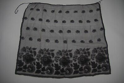 Antique Victorian Lace Apron Sheer black fabric with floral pattern (F117)