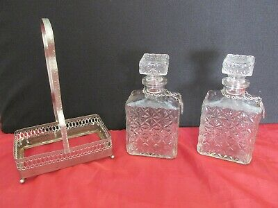 Vintage French Whiskey & Sherry Decanters In Ornate Carry Tray
