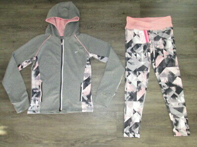 Girls Primark Grey/Black/Pink Hooded Tracksuit Top 9-10Yrs Bottoms 8-9 Yrs Bnwt