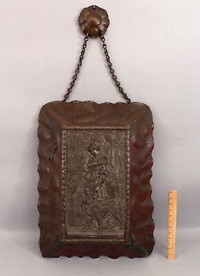Lg Antique Bronze Plaque Woman Dog Parrot Arts Crafts Red Copper Dragonfly Frame