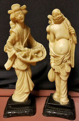 Vintage Ivory Colored Resin Asian Figurine Statues