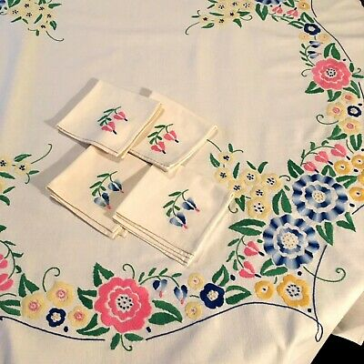 Vintage Hand Embroidered Tablecloth Flower Design Mid Century Bright Flowers