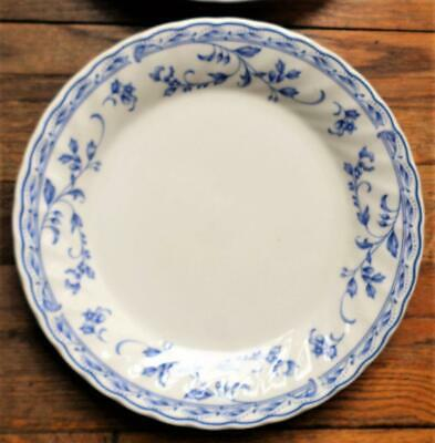 """Four Heritage Mint """"Simplicity"""" Dinner Plates 10 1/4"""" Blue On White"""