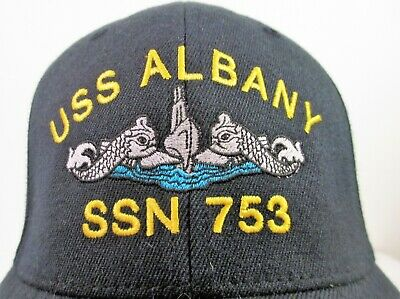 USS Permit SSN-594 Ball Cap Embroidered Submarine Dolphins Veteran Navy Sub Hat