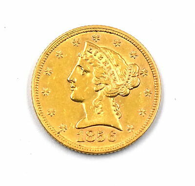 1856 $5 Liberty Head Half Eagle 90% Gold Us Collectible Coin Type 1 - Au Details