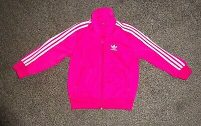 Girls Pink/White Adidas Tracksuit Jacket Top Age 3/4 Years
