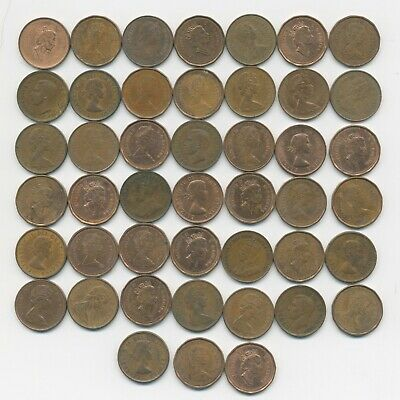 Lot of 45 Canadian Pennies ~ Canada 1¢ penny coins ~  vtg 1920 through 1998