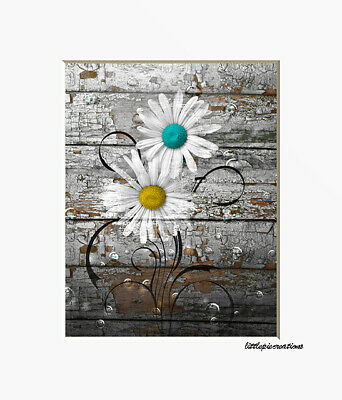 Purple Gray Rustic Modern Daisy Flowers Farmhouse Theme Wall Art Matted Picture