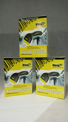Lot of 3 New Sealed Wasp WCS3905 CCD HandHeld BarCode Scanners w/USB Cables