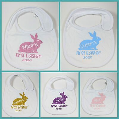 PERSONALISED FIRST 1st EASTER BABY BIB CUSTOMISED GIFT BUNNY BIBS GIFT NAME