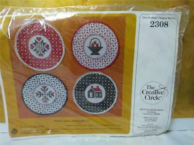 Cross Stitch Embroidery Kit*Calico Jar Toppers*For Gifts or Storage Jars*1984