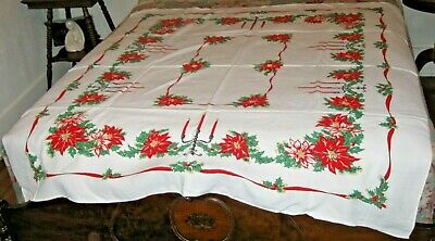 """VINTAGE MID CENTURY COTTON PRINT TABLECLOTH RED POINSETTIA FLOWERS 54"""" x 56"""""""