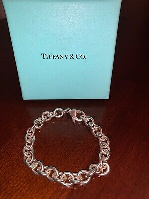 """Tiffany & Co Silver Rolo Chain Small Round Link Bracelet with Lobster Clasp - 7"""""""