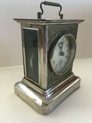 Antique Small Brass Carriage Clock Glass Side Window with Key