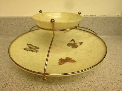 Vintage Mid Century Modern Fiberglass Chip and dip butterfly gold string Design