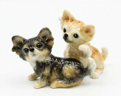 New PORCELAIN Figurine DOG Salt Pepper Shakers CHIHUAHUA Puppy Statue TAN BLACK