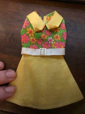 Vintage Doll Mini Mod Dress Yellow Pointed Collar White Vinyl Belt Pink Flowers