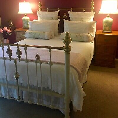 Antique Enamelled Cast Iron & Brass Double Bed with Hand Painted Porcelain.