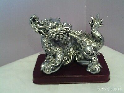 Fabulous Vintage Oriental Silver Colour Resin Design Dragon Figure 12.5 Cms Long