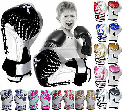 Kickboxing Training Gloves 4oz-6oz Boxing Punching Sparring MMA Muay Thai GelPad