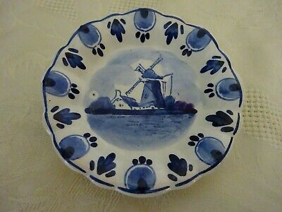 Delft Pottery Holland Dutch Blue & White Windmill Pin Tray Dish 10cm