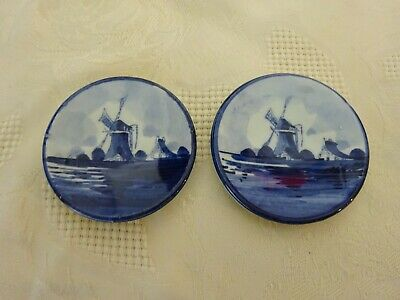 Delft Pottery Holland Dutch Blue & White Windmill Pair of Miniature Wall Plates