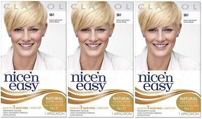 3 x Clairol Nice n Easy Permanent Colour Hair Dye (SB1 Natural Light Blonde)