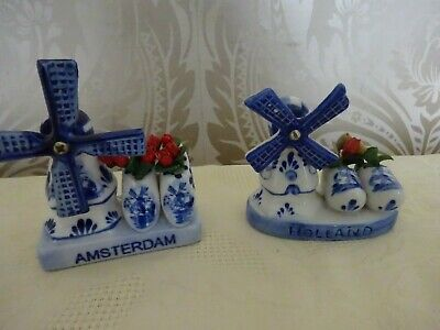 Delft Pottery Holland Dutch Blue & White Pair of Windmill Souvenirs 9cm tallest
