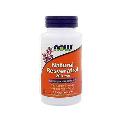 NOW FOODS Natural Resveratrol 200mg 60 Veg Capsules FREE SHIPPING