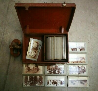 Antique Stereoscope w 80+ Early 20th Century Slides in Leather Case (Hospiscare)