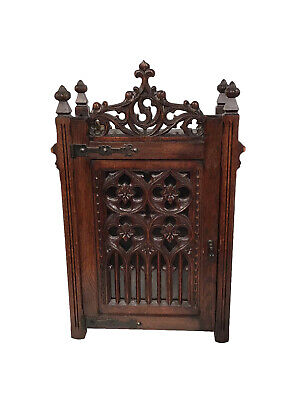 Antique French Gothic Wall Cabinet, Oak, 1920's