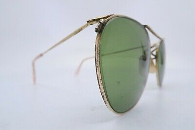 Vintage 40s gold filled sunglasses with green glass lenses made in England