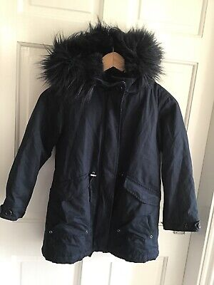 Zara Girls Navy Blue Winter Coat With Hood And Flux Fur Lining Size 8 Years