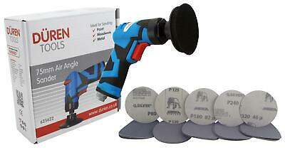 """Duren 75mm Air Angle Sander With 2"""" & 3"""" Roll On Backing Pads + 50 Mixed Discs"""