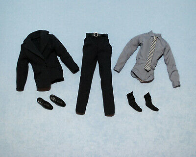 New 3in1 Fashion Black Suit Coat+Shirt+Pants Clothes For 12 inch Ken Doll