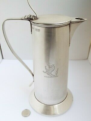 Stunning Large Size Heavy English Antique Arts & Crafts 1902 Solid Silver Teapot