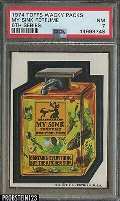 1974 Topps Wacky Packs 6th Series My Sink Perfume PSA 7 NM