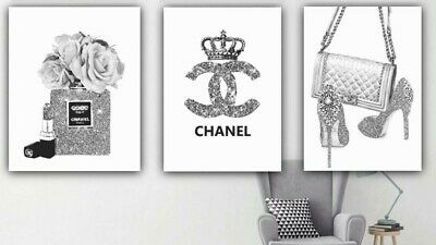 Set of 3 fashion Art iconic perfume bottle handbag  fashion logo grey   A4 G11