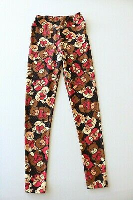 LuLaRoe Valentines Heart Teddy Bear Love Leggings Size TWEEN