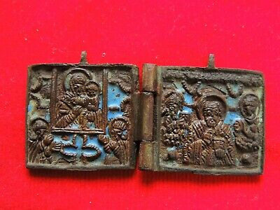 Ancient bronze religious medallion icon  18th century