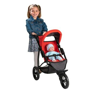 Girls Doll Chloe 3 Wheel Jogger Pushchair Buggy Toy Baby Pram Stroller Dimples