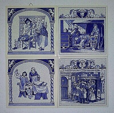 (4) Commemorative Pharmacy Ceramic Pill Tile Set #2 - Delft - Holland - Free S&H