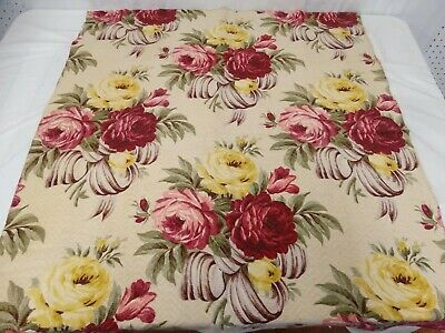 Vtg 40s CABBAGE ROSES BARKCLOTH Era 2 Panels & 1 Valance Set